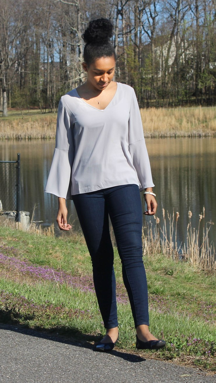 Gray Flutter Sleeve and Jeans