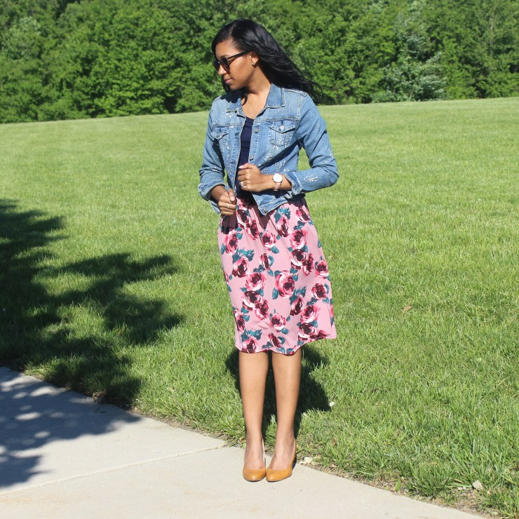 Floral Skirt and Denim Jacket