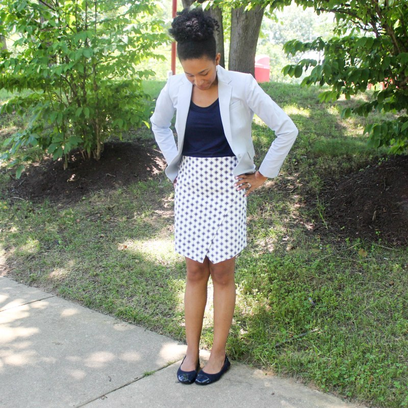 Ann Taylor Loft Skirt and Navy Top-5