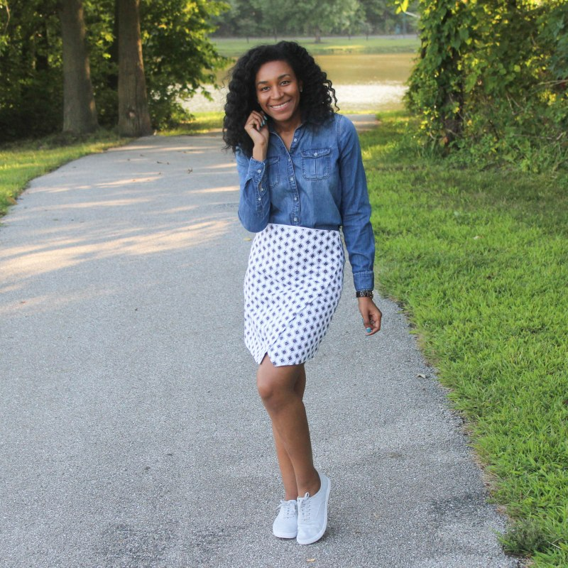 Denim Shirt Loft Skirt (1 of 6)