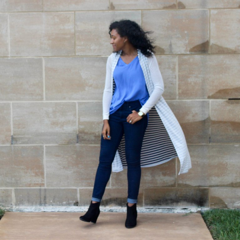 Long Cardi with a Blue Tank-2-11
