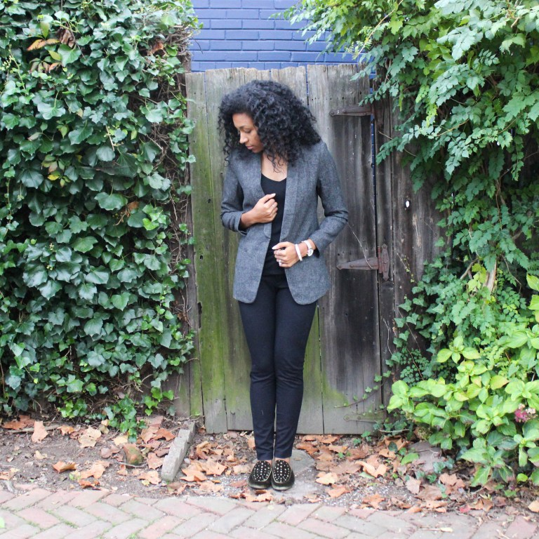 All Black with Tweed and Loafers-4817