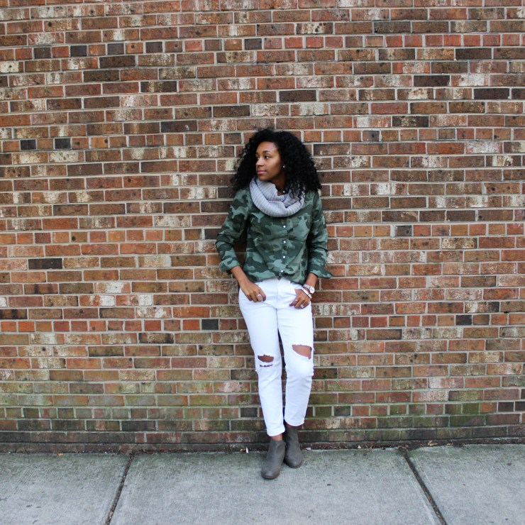 Army Shirt with White Pants-4361