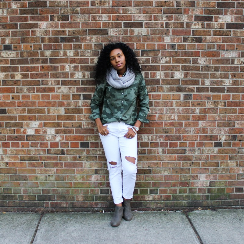 Army Shirt with White Pants-4367