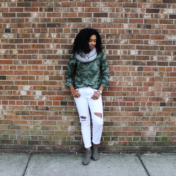 Army Shirt with White Pants-4386