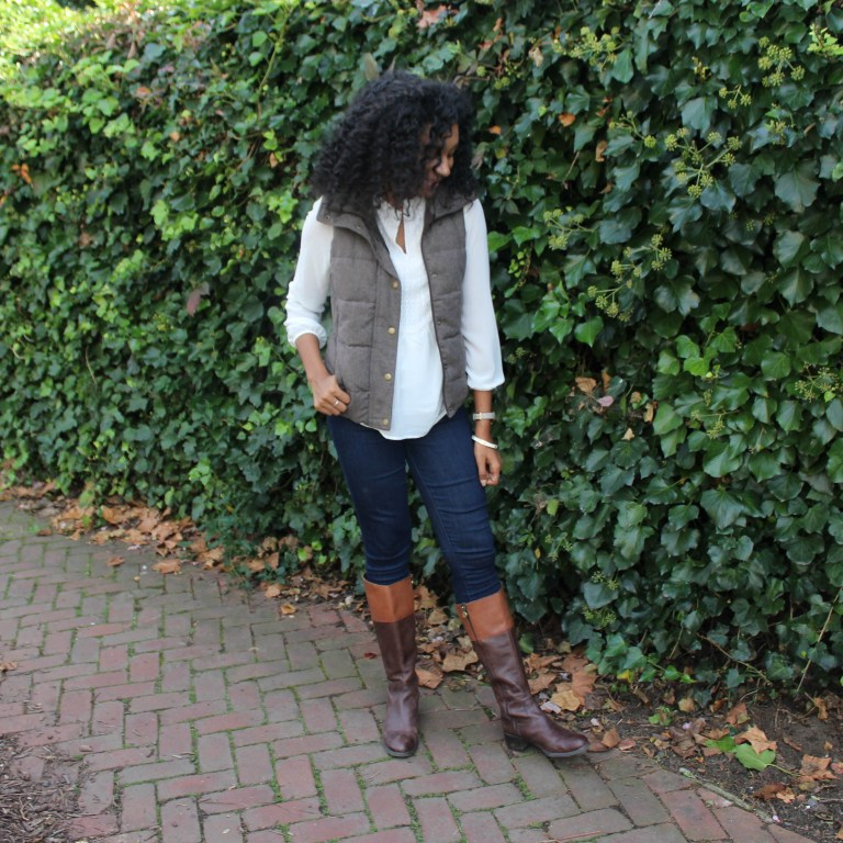 Brown Puffer Vest with Riding Boots-3328