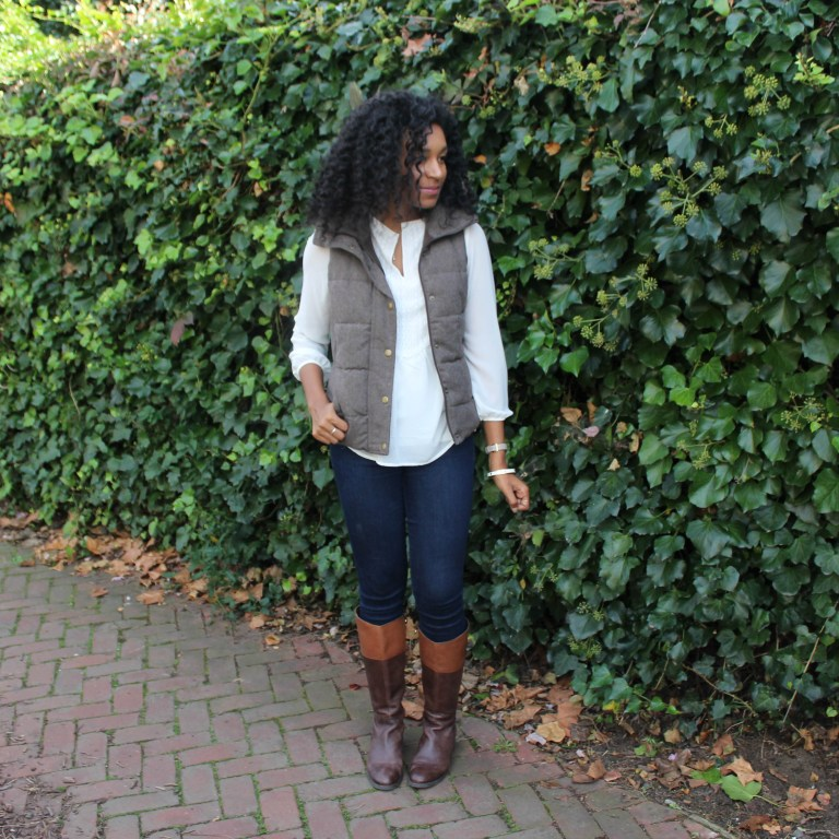 Brown Puffer Vest with Riding Boots-3333
