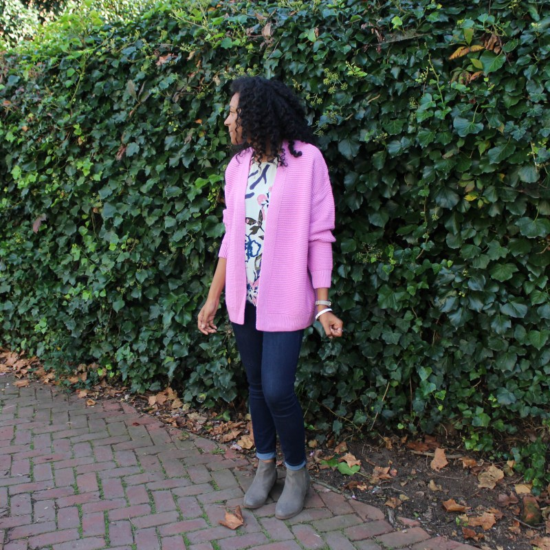 Floral Tank with Pink Sweater-3775