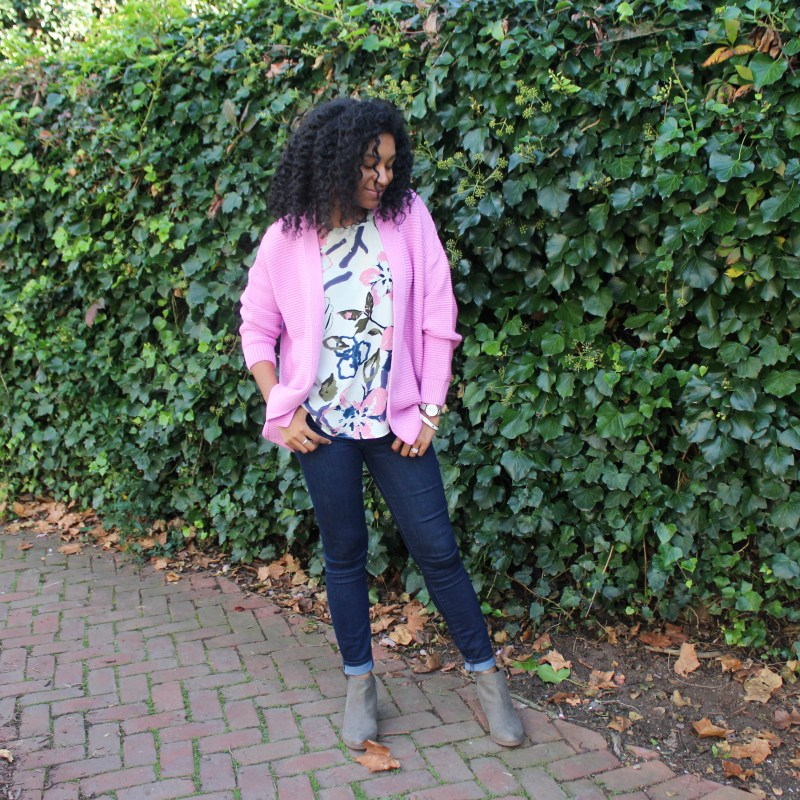 Floral Tank with Pink Sweater-3785