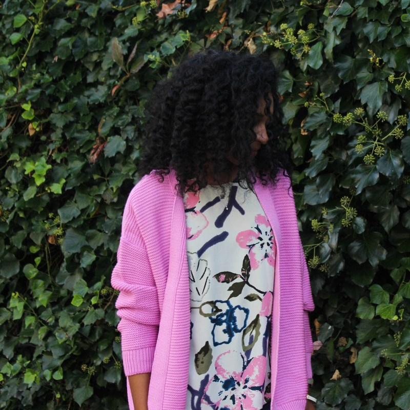 Floral Tank with Pink Sweater-3864