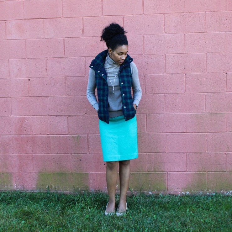 Old Navy Puffer Vest and J-Crew Wool Skirt-5647