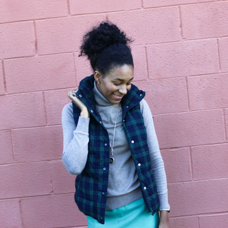 Old Navy Puffer Vest and J-Crew Wool Skirt-5665