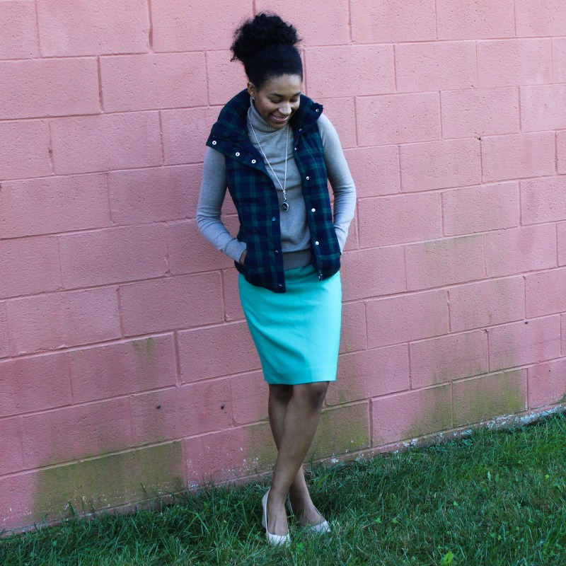 Old Navy Puffer Vest and J-Crew Wool Skirt-5740