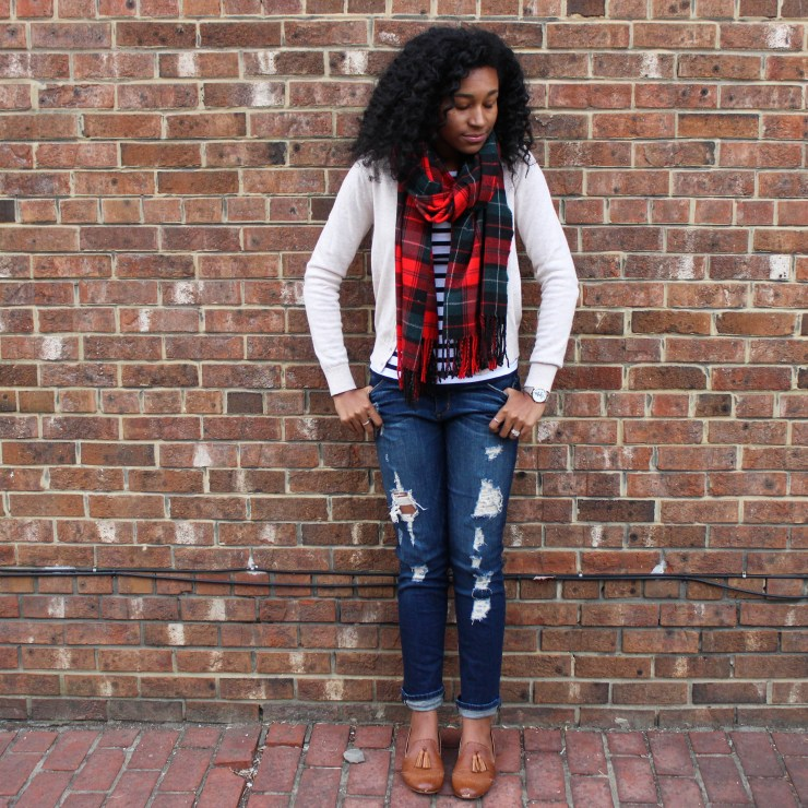 Plaid Scarf with Striped Shirt and Tan Cardigan-4437