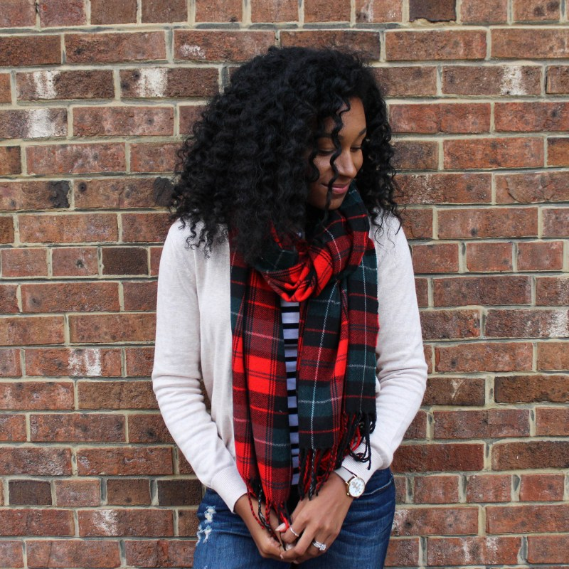 Plaid Scarf with Striped Shirt and Tan Cardigan-4497