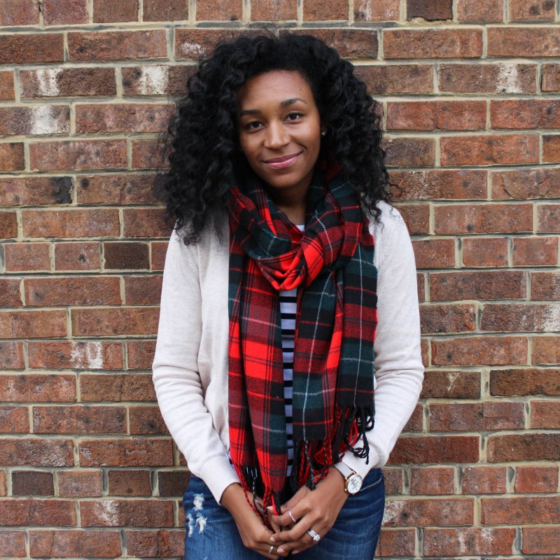 Plaid Scarf with Striped Shirt and Tan Cardigan-4499
