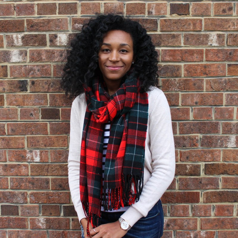 Plaid Scarf with Striped Shirt and Tan Cardigan-4511