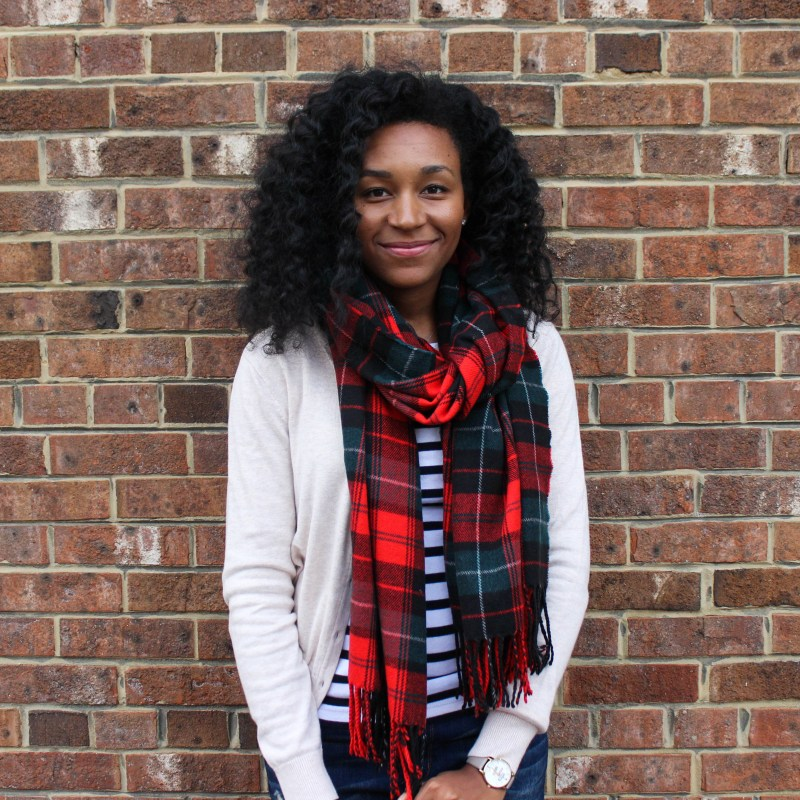 Plaid Scarf with Striped Shirt and Tan Cardigan-4519