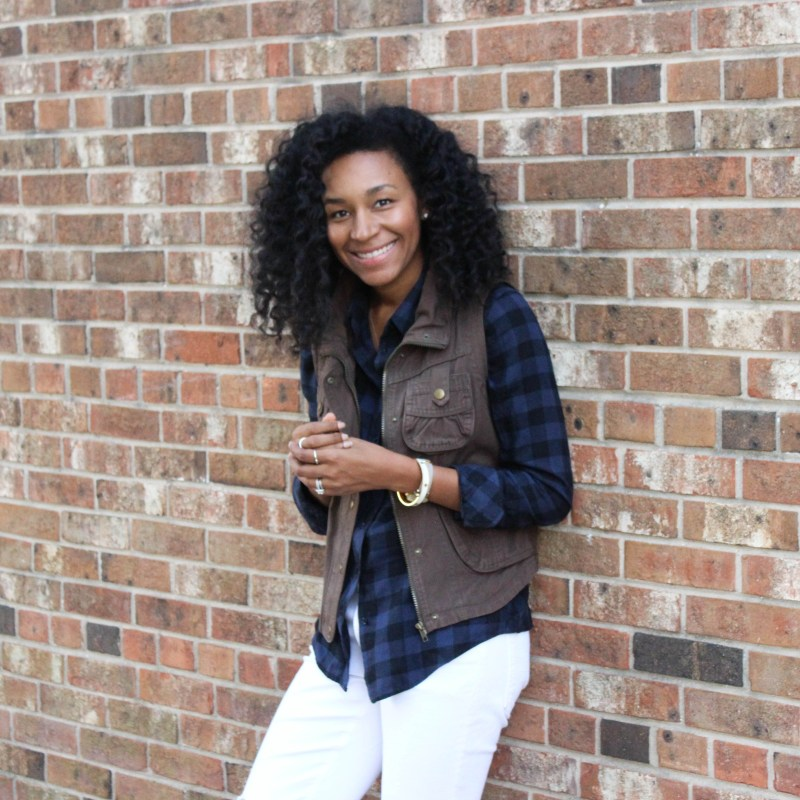 Plaid Shirt Utility Vest and White Jeans-4307