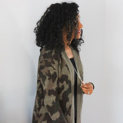 Army Cardigan with Faux Leather Leggings-6660