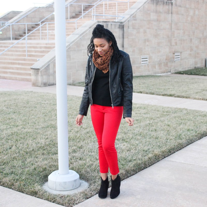Black top Red Pants Leather Jacket-9433