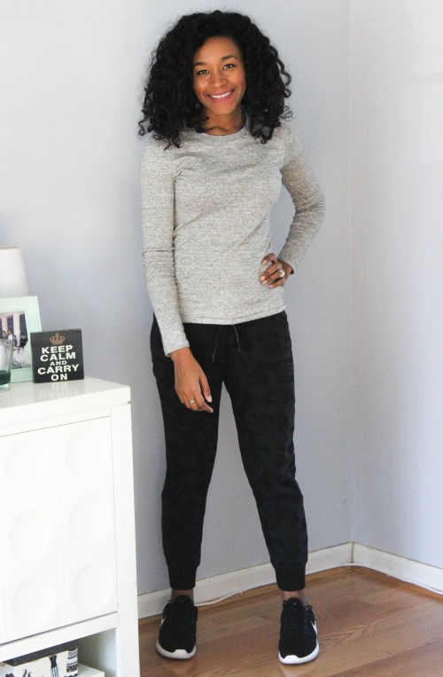 Grey LS Tee with Black Calvin Klein Joggers-6879