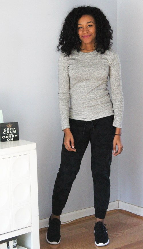 Grey LS Tee with Black Calvin Klein Joggers-6896