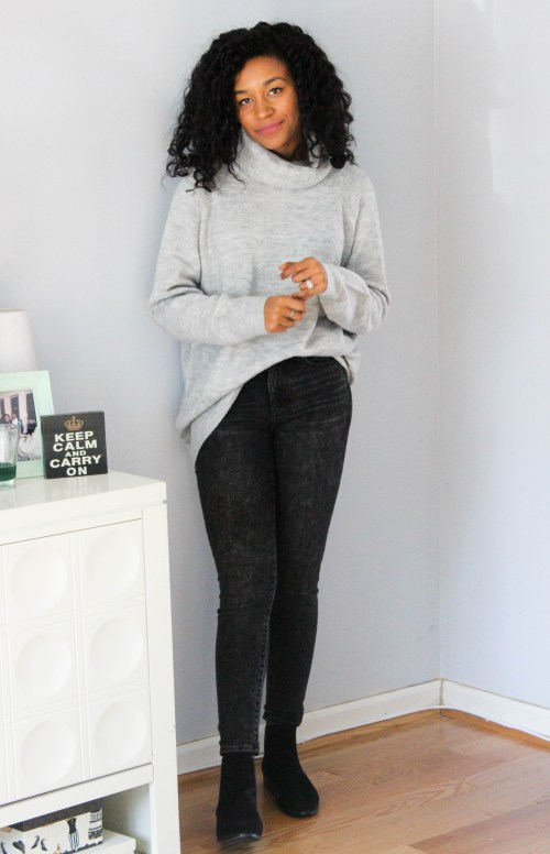 Oversized Sweater w Gap Black Faded Denim-6684
