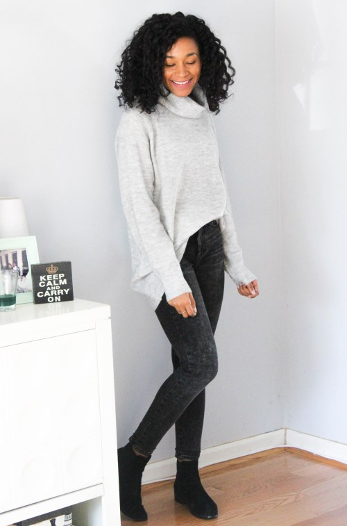 Oversized Sweater w Gap Black Faded Denim-6730