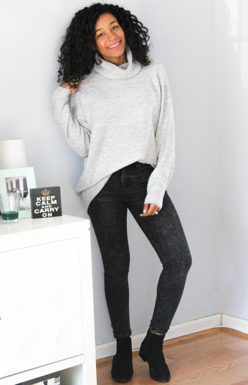 Oversized Sweater w Gap Black Faded Denim-6736