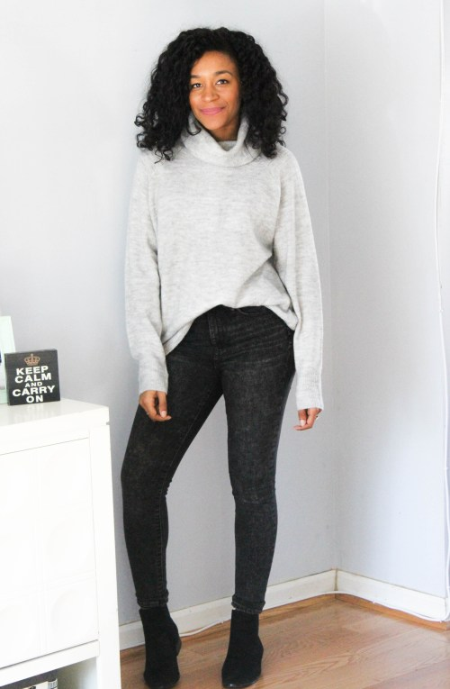 Oversized Sweater w Gap Black Faded Denim-6750