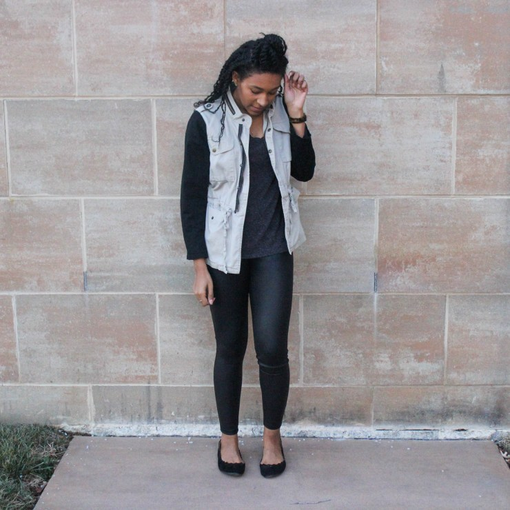 Faux leather leggins with utility jacket-9640