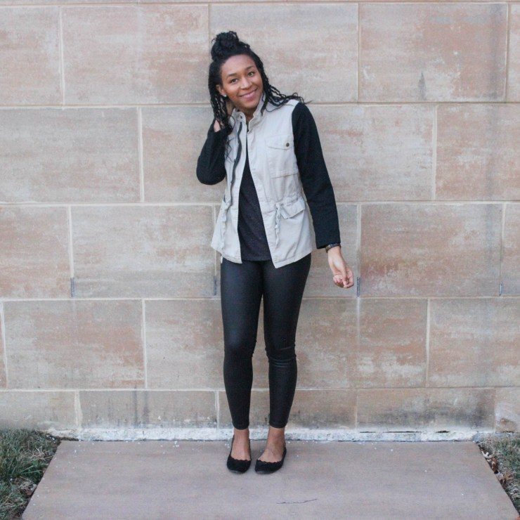 Faux leather leggins with utility jacket-9661