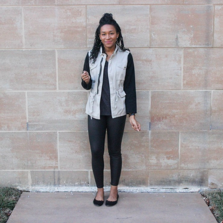 Faux leather leggins with utility jacket-9672