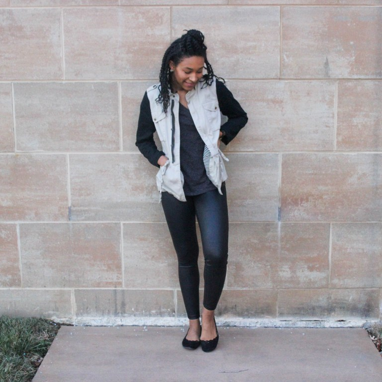 Faux leather leggins with utility jacket-9690