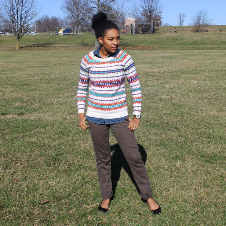 Fair Isle Sweater with Khaki Pants -6663