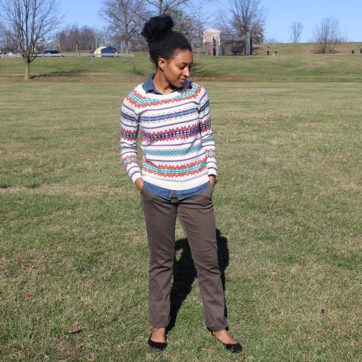Fair Isle Sweater with Khaki Pants -6702