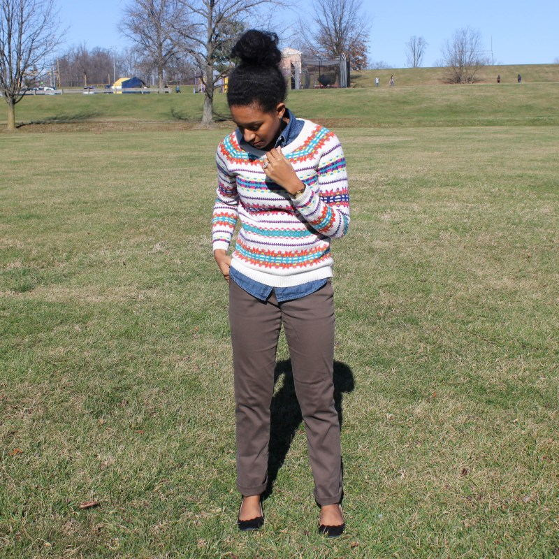 Fair Isle Sweater with Khaki Pants -6736