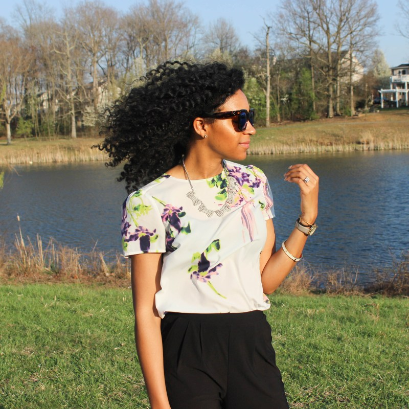 Floral French Connection Shirt and Black Trousers-8423