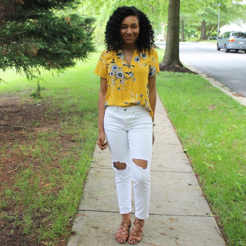 Old Navy Yellow Shirt with White AE Jeans-9969