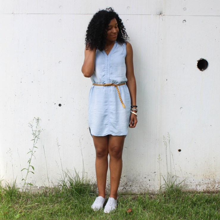 Thrifted Chambray Shirt Dress-0491