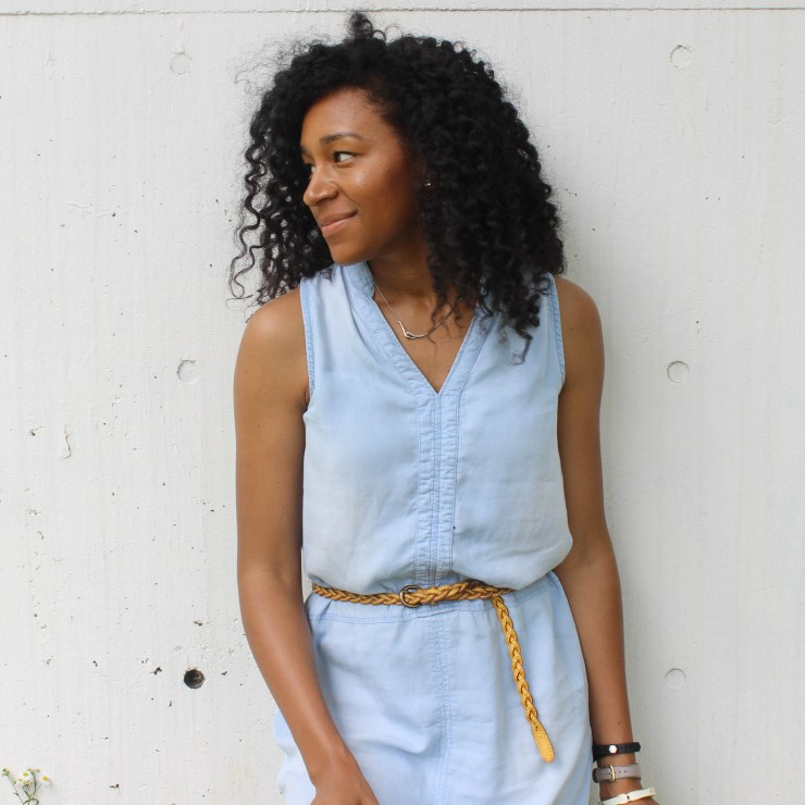 Thrifted Chambray Shirt Dress-0587