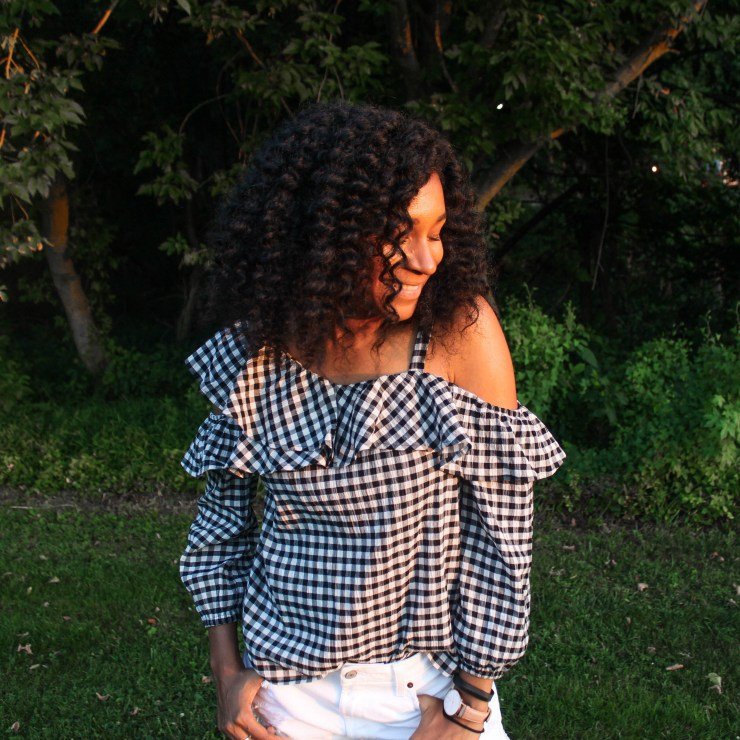 Gingham OTS Express Top white shorts-2267