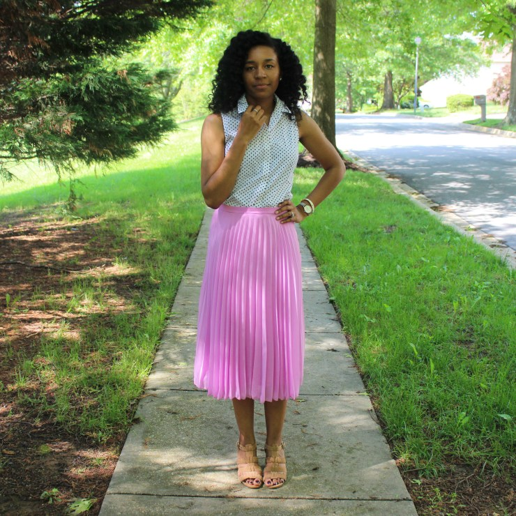 Polka Dot Shirt with Pink Midi Skirt-0178