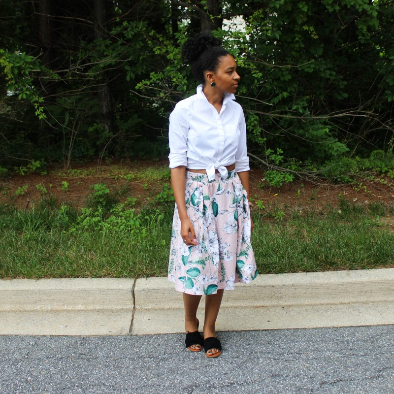 White Shirt with Pink Floral Midi Skirt-0787