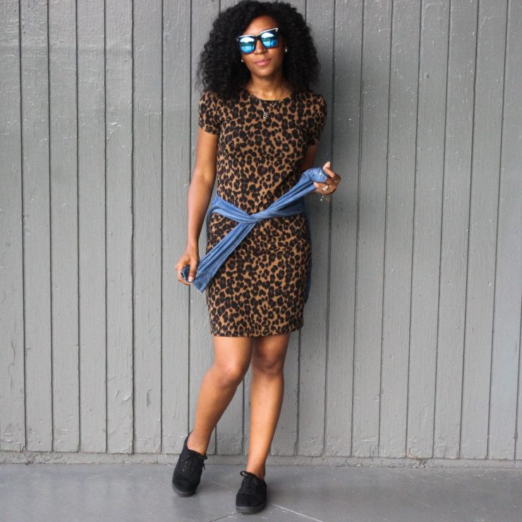 Leopard Dress with Denim Shirt-3043