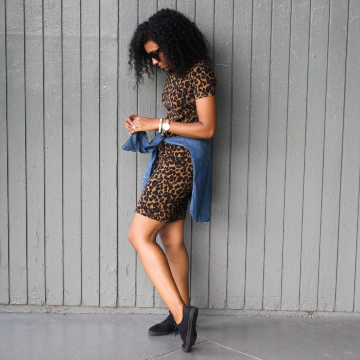 Leopard Dress with Denim Shirt-3049