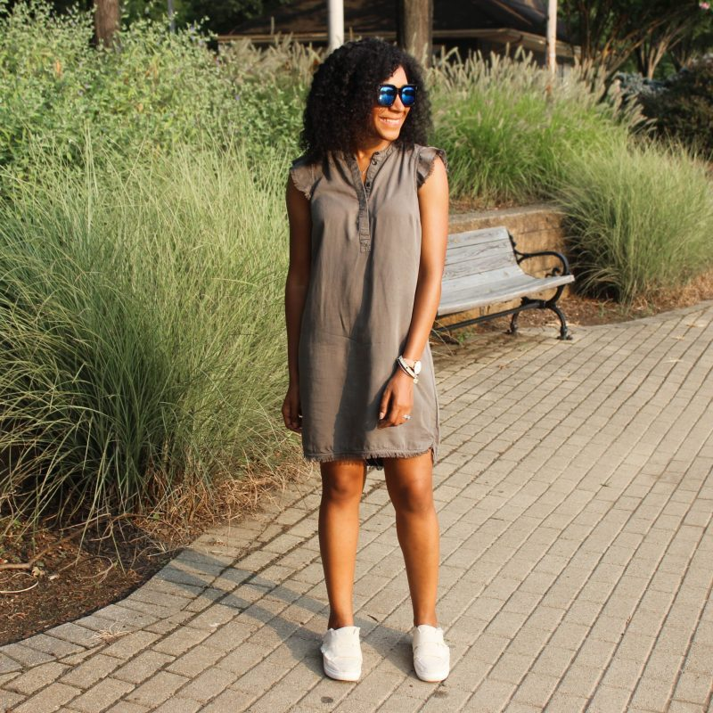 Olive Green Dress with Slides-3312