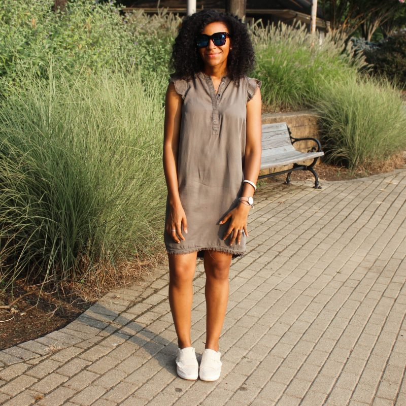 Olive Green Dress with Slides-3344