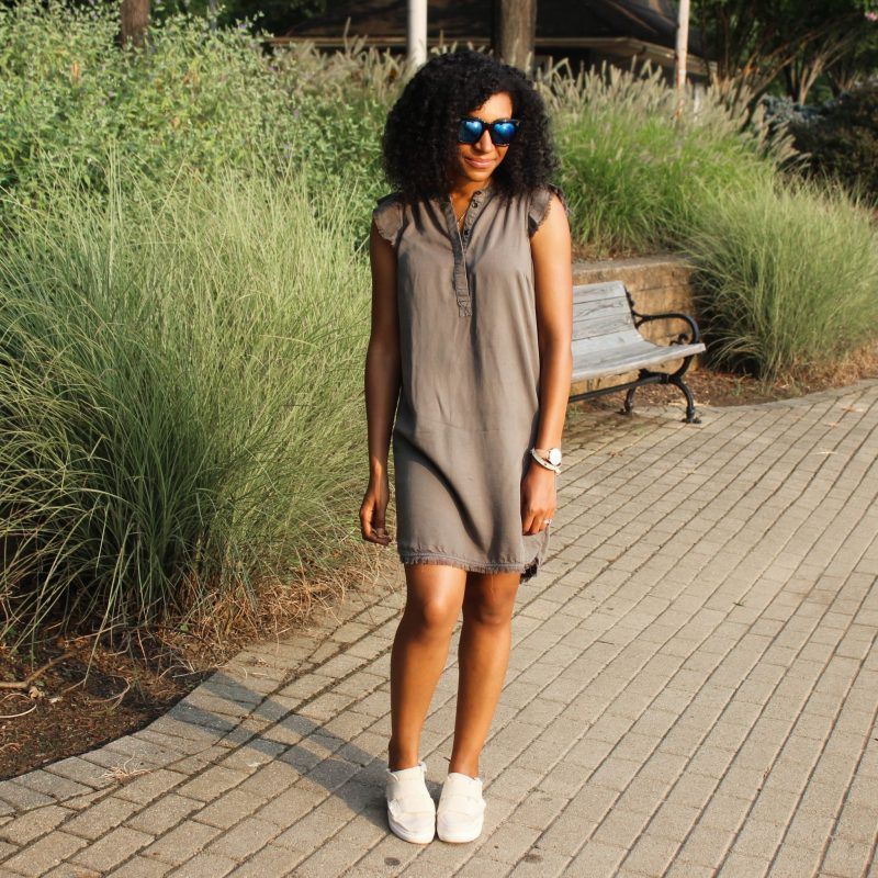 Olive Green Dress with Slides-3352